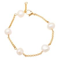 stainless steel gold pearl studded bracelet