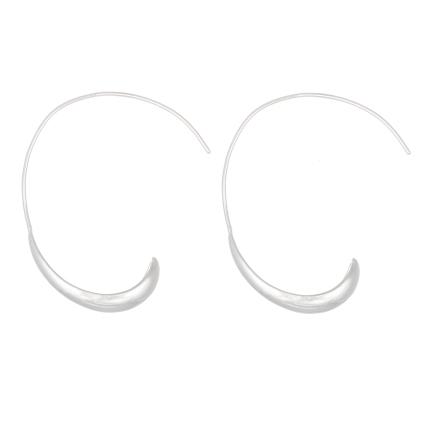 Sterling silver e-coat threader hoop earrings