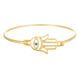 Sterling silver hook evil eye hamsa bangle bracelet