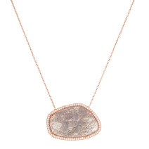 Sterling silver labradorite stone rose gold necklace