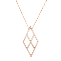 Rose gold sterling silver diamond cut out necklace