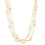 stainless steel peach and white pearl triple row necklace