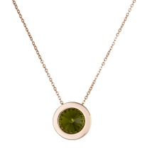 Green Crystal and Rose Gold Necklace