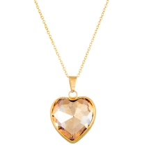 stainless steel gold IP chained crystal heart pendant necklace