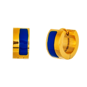 Stainless steel blue enamel huggie hoop earrings