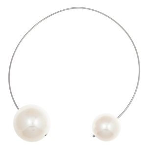Stainless steel big pearl end bypass necklace