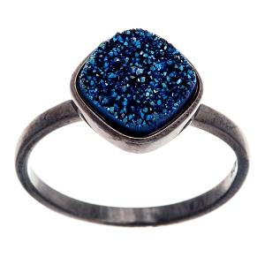 Sterling silver black rhodium druzy ring