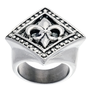 Men's stainless steel fluer de lis ring