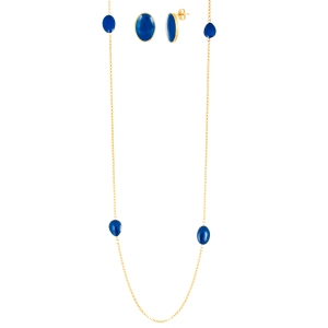 stainless steel gold and blue necklace and earring set