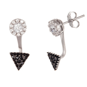 STERLING SILVER2-TONE CZ CIRCLE & TRNGL POST EARRING