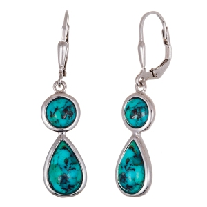 STERLING SILVER RHODIUM DANGLING TURQUOISE STONE EARRING