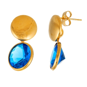 STAINLESS STEEL RB GLASS DANGLING POST EARRING GOLD