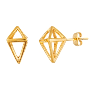STAINLESS STEEL GOLD IP PYRAMID STUD EARRING