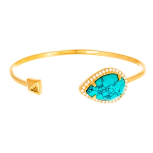 sterling silver gold oval and turquoise CZ bangle