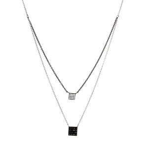 STERLING SILVER 2-TONE CZ SQUARE 2-LAYER NECKLACE