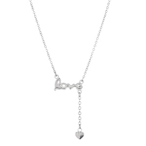 """STAINLESS STEEL """"LOVE"""" HEART 16"""" NECKLACE"""