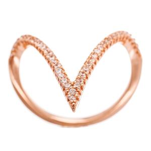 sterling silver CZ V-shaped ring