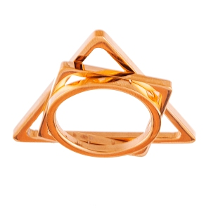 STAINLESS STEEL ROSE GOLD TRIANGLE/SQUARE/CIRCLE DISC RING