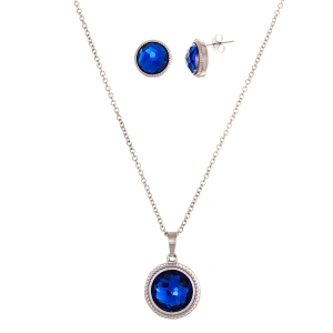 STAINLESS STEEL ROUND FACET RUBY GLASS NECKLACE & EARRING SET